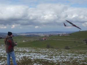 Erstflug am Greyerzersee, danke Toni für das Foto